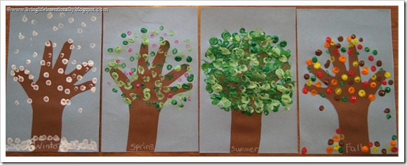 Four Seasons Pointillism Hand Art Craft for Kids