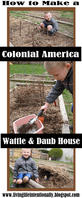 Kids will have fun learning about early american settlers with this fun kids activities where they will build a DIY Wattle and Daub House. #colonialamerica #earlysettlers #wattleanddaub #history #historyforkids #historyisfun #kidsactivities #homeschooling