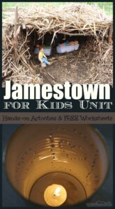 Tons of Jamestown Settlement Projects for Kids in this free unit on colonial america! Plus jamestown settlement crafts and free worksheets for kids of all ages in this colonial america lesson for homeschoolers and educational activities in school. #colonialamerica #historyforkids #kidsactivities