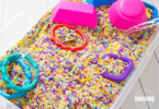 fun to make rainbow rice for sensory boxes