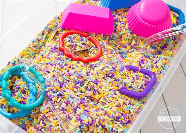 fun to make rainbow rice for sensory boxes