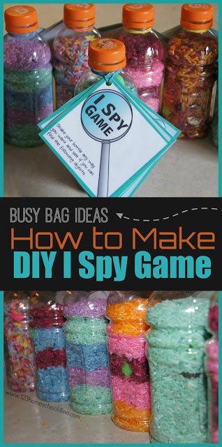DIY I Spy Bottles - these super clever, easy to make, I Spy Games is a great busy bag idea or road trip games for preschool, kindergarten, and first grade kids as a summer activity for kids or kids activities for all year long. #busybag #ispy #preschool