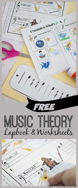 Free Music lapbook filled with music theory worksheets and activities to teach kids about musical notes, musical instruments, dynamic marks, rhythm, and so much more. FREE Music theory worksheets and resources o help teach toddler, preschool, kindergarten, and homeschool children about music. You will find elements to teach about different instruments, rhythm, flashcards, middle C, Peter and the Wolfe, and so much more. Simply download pdf file withfree music theory worksheets and you are ready to dive into music theory, notes, and so much more with your elementary age kids from pre-k, kindergarten, first grade, 2nd grade, 3rd grade, and 4th grade students.
