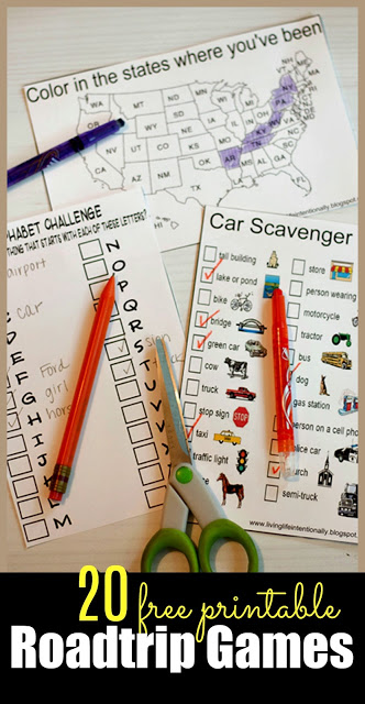 20 FREE Printable Roadtrip Games - kids will have fun with these car games for the whole family! There are so many choices from car scavenger hunts, alphabet challenges, color in the states, spotting animals and more roadtrip games #roadtripgames #cargames #familyroadtrip