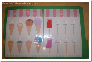 Ice Cream Preschool File Folder Game practicing colors