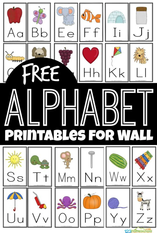 If you are working with your toddler, preschool, pre k, Kindergarten, and first grade student on learning the alphabet, you know they will need to reference something frequently to remember how to form their letters. It is a skill that just takes time and practice! These super cute, free alphabet printables for wall are a handy tool for helping children their their letters from A to Z.  Print the pdf file with the free printable alphabet flash cards, cut apart, and hang on your wall for kids to reference the upper and lowercase letters frequently.