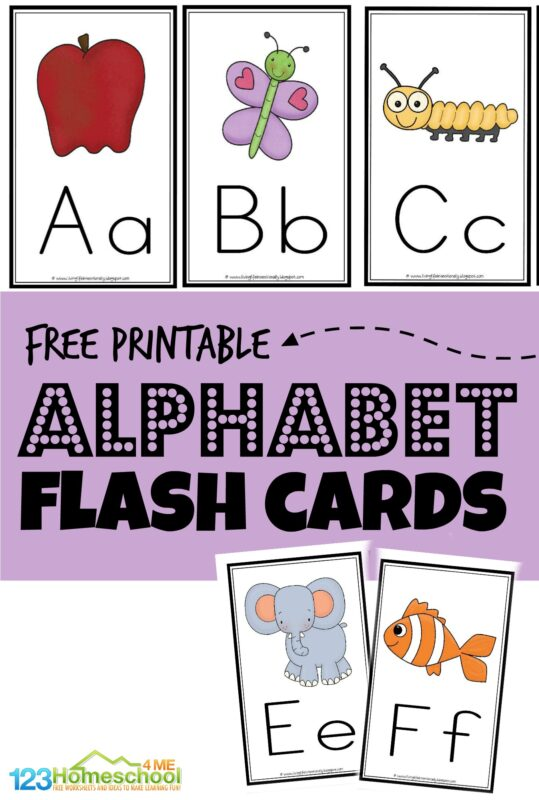 Free printable alphabet flash cards to help toddler, preschool, pre k, kindergarten and first grade students learn their abcs