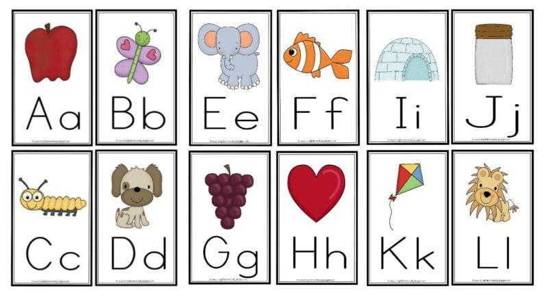 Large alphabet flashcards printable