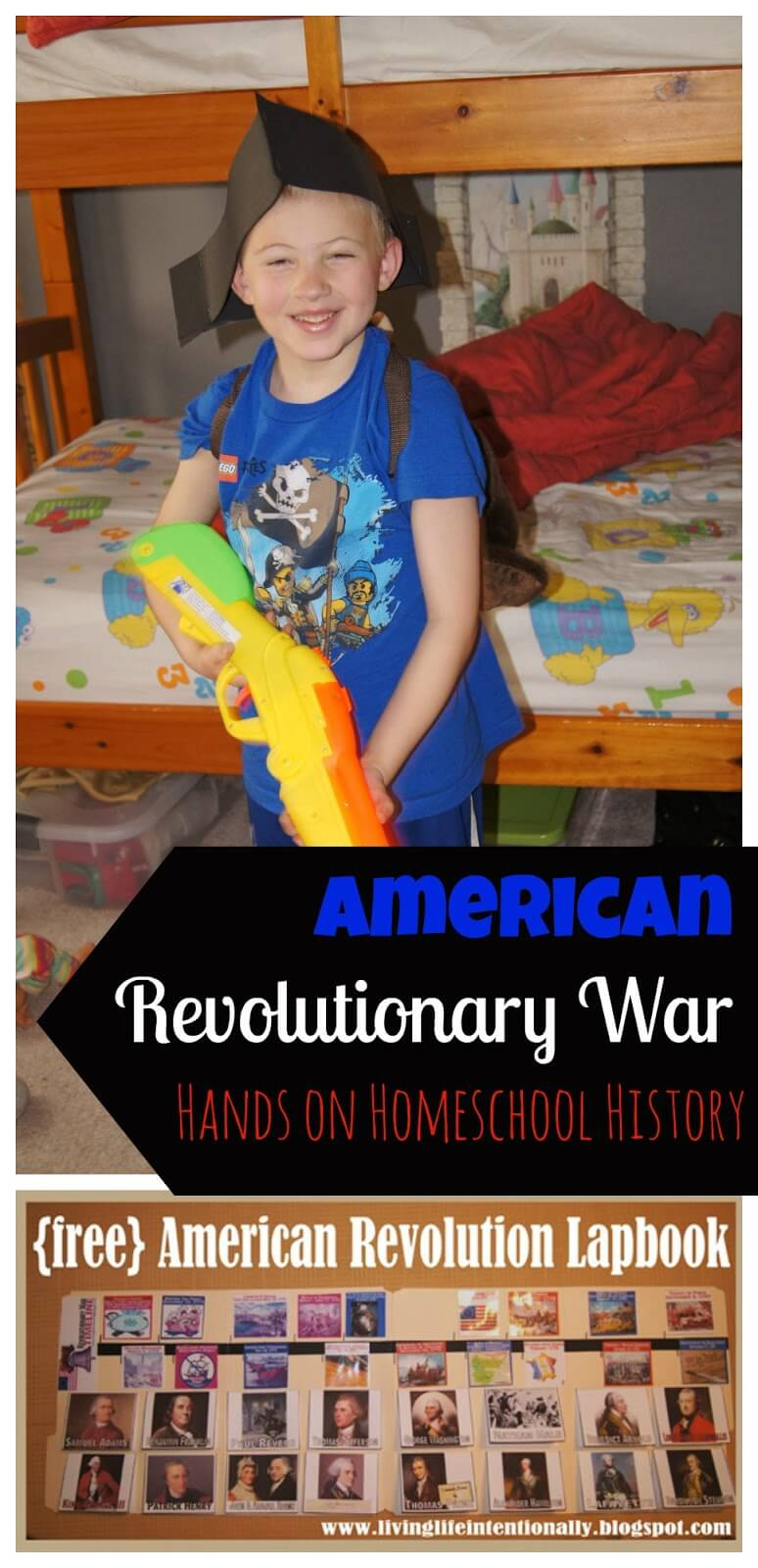 The shot hear around the world lesson - this is week 2 in our American Revolutionary War unit. We added more to our free american revolutionary war lapbook, read great books, and had minute man drills #revolutionarywar #homeschooling