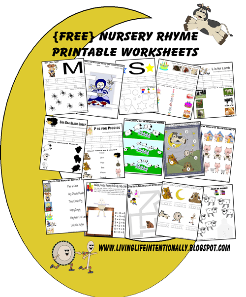 FREE Nursery Rhymes Worksheets for Preschoolers - include printable nursery rhyme sheets plus worksheets to work on math and literacy skills with a fun nursery rhyme theme for toddler, preschool, prek, and kindergarten age kids #nurseryrhymes #preschool #worksheets