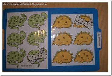 Dino Bones File Folder Game