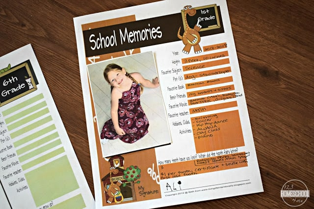 Freeze this moment in time to capture your child with these FREE printable pages to make your own School Years Memory Book! Perfect back to school activity!