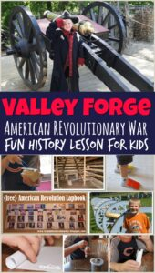 Join us as we discover what it was like in Valley Forge during the American Revolutionary War with these fun hands-on Revolutionary War for Kids activities. This fun history for kids lesson includes rolling cartridges activity, cold feet activity, dragon pistols, and other Revolutionary War Project Ideas, lots of great book recommendations, and a free printable revolutionary war lapbook with important dates and people. This is a fun American history for kids unit for kindergartners, first graders, 2nd graders, 3rd graders, 4th graders, 5th graders, and 6th graders.