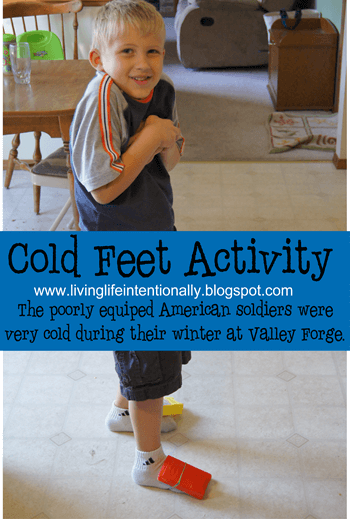 Valley forge for kids - fun hands on activities like this  Cold Feet Activity, rolling cartridges, and more! This is part of our free  american revolutionary war history unit for elementary age kids. Includes free printables and more #valleyforget #historyforkids #revolutionarywar