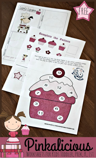 FREE Pinkalicious Worksheets for Kids - these free printable book themed printables are perfect for toddler, preschool, kindergarten, and 1st grade kids to help practice alphabet letters, counting, colors, shapes, adding, and so much more! #worksheetsforkids #pinkalicious #preschool