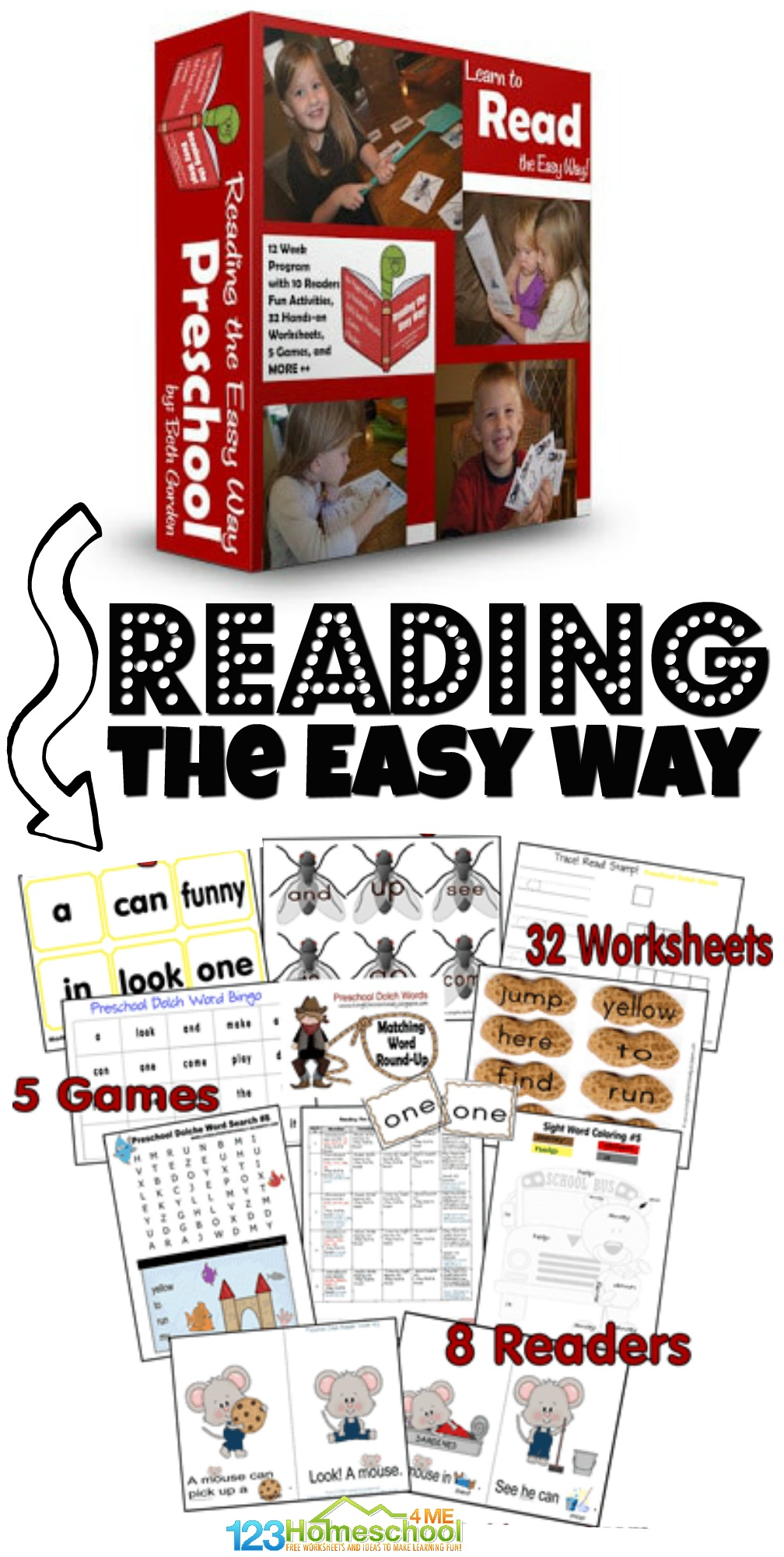 Finally a fun way for preschoolers to learn to read! Reading the Easy Way is a 12 week preschool reading program that helps pre-k students master preschool sight words. The homeschool reading program includes lots of FUN preschool sight words activities including 6 games, fun worksheets (like color by sight word), readers, and more to help Preschoolers learn to read the EASYway.