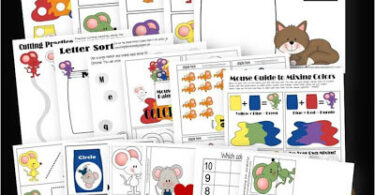 Mouse Paint Themed Worksheets