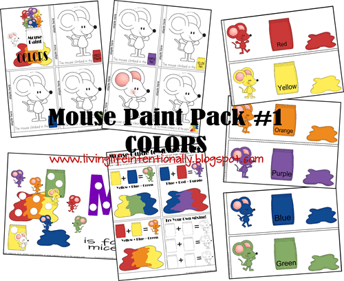 teach toddlers colors with free printable mouse paint preschool pack