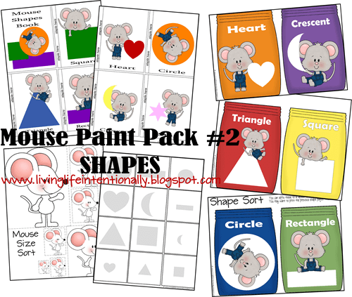 Teach Preschoolers about SHAPES & SIZES with free mouse paint worksheets