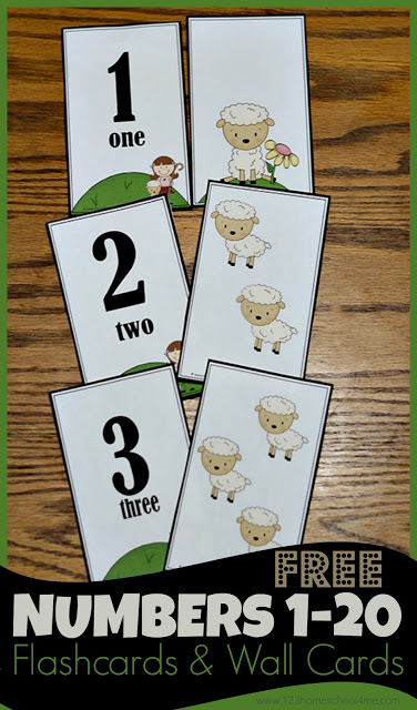 Number flash cards printable 1-20 help kids practice counting, recognizing numerals, and learning number words. Includes wall cards too!