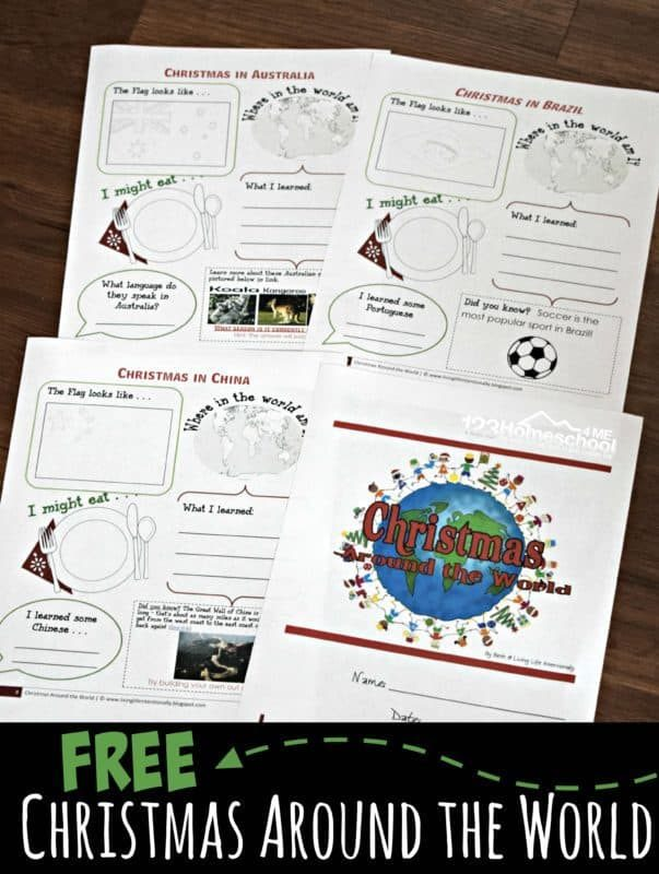 FREE Christmas Around the World Activities for Kids - kids will have fun exploring over 30 countries while they learn about other countries holiday traditions, language, flag, geography, interesting facts and more. Includes Christmas crafts, recipes, FREE Christmas Around the World worksheets and more! #christmasaroundtheworld #christmasworksheets #free
