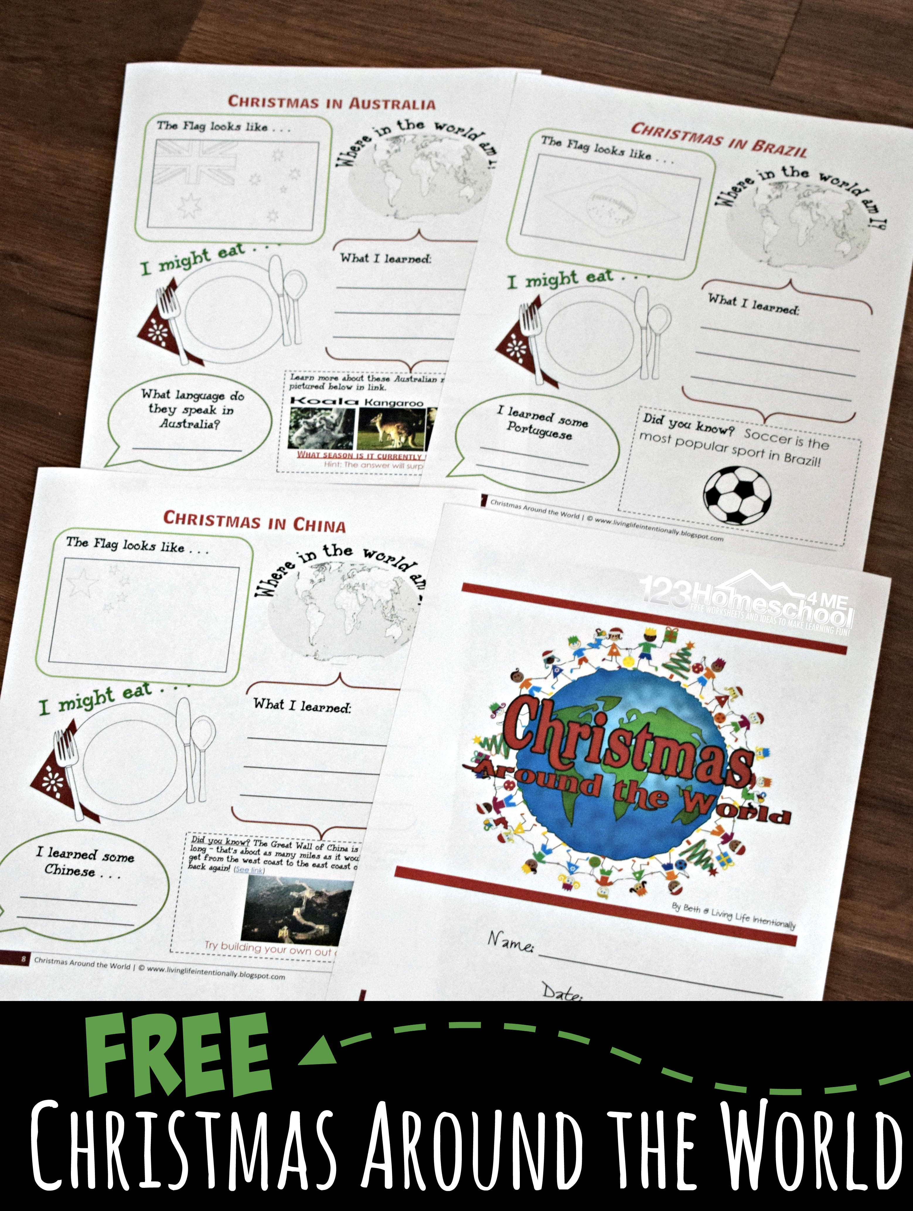 Free Christmas Around The World Worksheets For Kids Activities