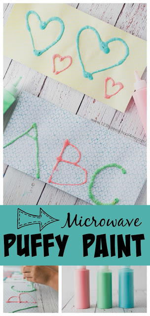 Kids will go nuts of thismicrowave puffy paint that allows kids to strengthen hand muscles, explore creativity, and practice making alphabet letters too! This puffy paint recipe is super cool becuase kids draw first then youpuffy paint microwave to make the project take on a larger form! So cool! Try thispuffy paint ideas is great for toddler, preschool, pre-k, kindergarten, and first grade students as a hands-on tactile learning experience too.