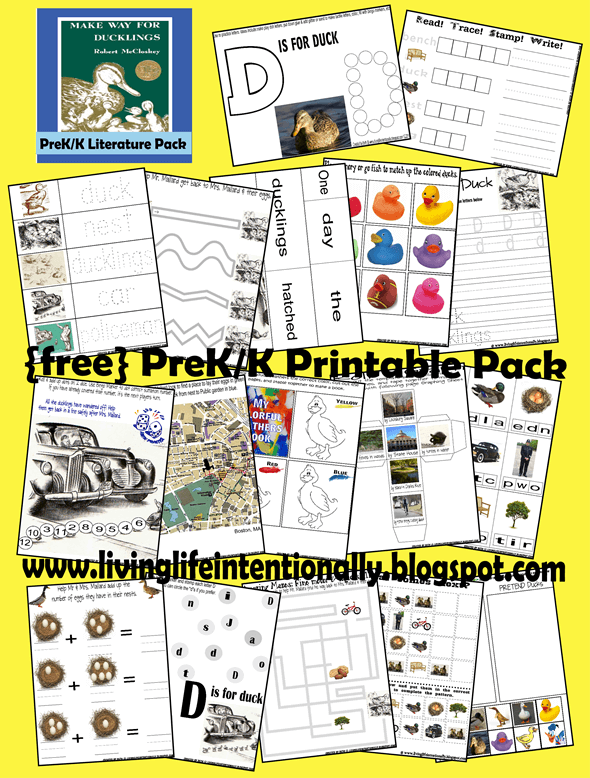 FREE Make Way for Duckling Worksheets for toddler, preschool, kindergarten, and first grade kids to practice letter D, counting, writing letters and numbers, addition, what comes next, addition, cut and paste, colors, and more. #fiveinarow #preschool #kindergarten #firstgrade #worksheets