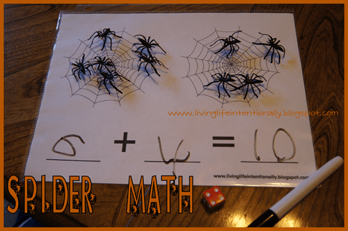 hands on Spider math for preschool and Kindergarten