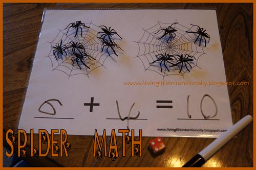 hands on Spider math for preschool and Kindergarten