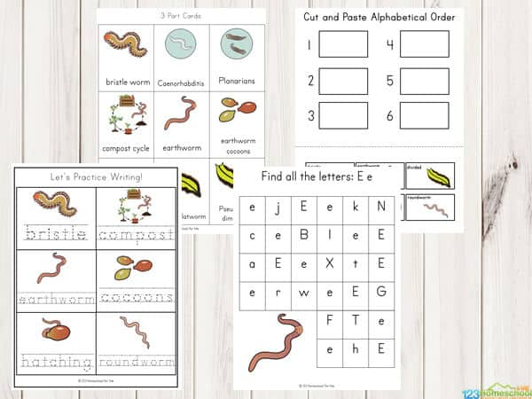 all about worms printables