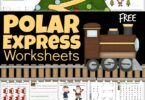 Make learning math and literacy skills FUN in December with these super cute, free printable Polar Express Worksheets. Download the pdf file with the polar express worksheets free for no prep, free printable Christmas worksheets to make learning fun with a favorite Christmas picture book for preschool, pre-k, kindergarten, first grade, and 2nd grade students.