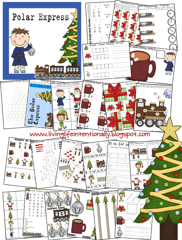 FREE Polar Express pritnables - super cute polar express worksheets for kids from toddler, preschool, prek, kindergarten, first grade, and 2nd grade to practice math, counting, adding, alphabet letters, and more #polarexpress #preschool #kindergarten #christmasworksheets