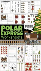 Make learning math and literacy skills FUN in December with these super cute, free printablePolar Express Worksheets. Download the pdf file with thepolar express worksheets free for no prep, free printable Christmas worksheets to make learning fun with a favorite Christmas picture book for preschool, pre-k, kindergarten, first grade, and 2nd grade students.