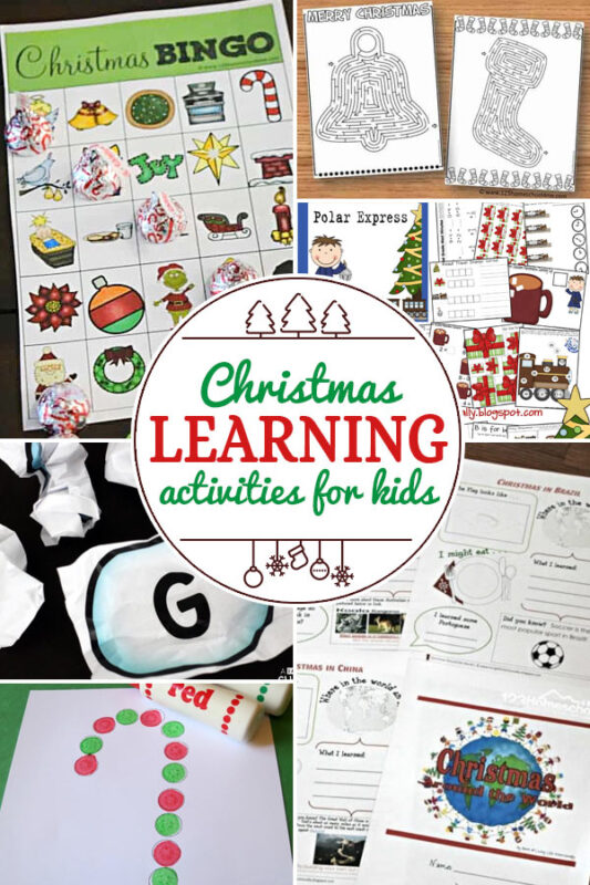 christmas-learning-activities including 200+ christmas craft and activities for kids including holiday craft ideas for December, Ornaments for kids to make, christmas math, christmas science, christmas literacy, Christmas sensory and free Christmas printables too! (themes such as santa, nativity, christmas tree, snowman, and more!)