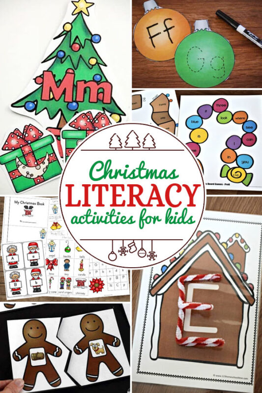 Christmas Language Arts Activities for Kids including 200+ christmas craft and activities for kids including holiday craft ideas for December, Ornaments for kids to make, christmas math, christmas science, christmas literacy, Christmas sensory and free Christmas printables too! (themes such as santa, nativity, christmas tree, snowman, and more!)