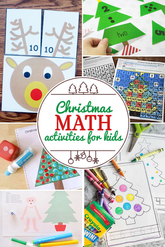 Christmas Math Activities for Kids including 200+ christmas craft and activities for kids including holiday craft ideas for December, Ornaments for kids to make, christmas math, christmas science, christmas literacy, Christmas sensory and free Christmas printables too! (themes such as santa, nativity, christmas tree, snowman, and more!)