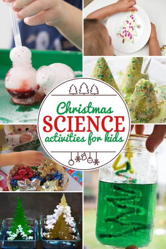 Christmas Science Activities for Kids including 200+ christmas craft and activities for kids including holiday craft ideas for December, Ornaments for kids to make, christmas math, christmas science, christmas literacy, Christmas sensory and free Christmas printables too! (themes such as santa, nativity, christmas tree, snowman, and more!)