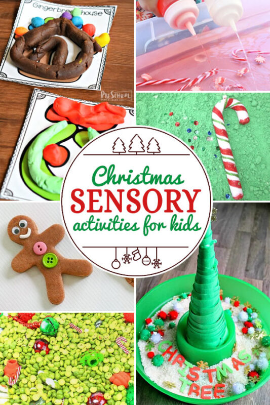 Christmas Sensory Activities for Kids including 200+ christmas craft and activities for kids including holiday craft ideas for December, Ornaments for kids to make, christmas math, christmas science, christmas literacy, Christmas sensory and free Christmas printables too! (themes such as santa, nativity, christmas tree, snowman, and more!)