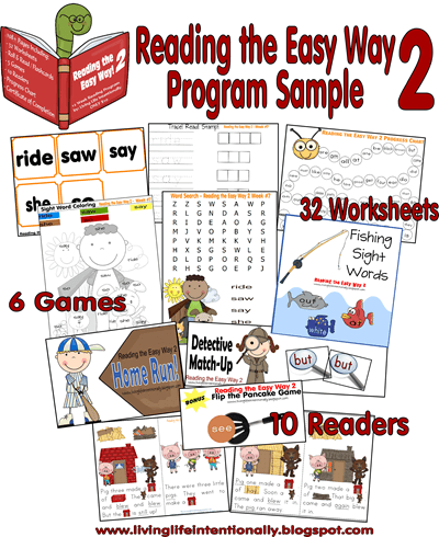 Kindergarten Worksheets - Reading the Easy Way Kindergarten Sample