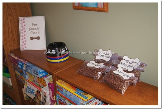 Pretend Pet Supply Store as a Dog Birthday Party Game
