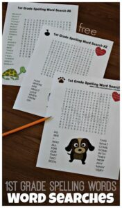 FREE 1st Grade Spelling Words WORD SEARCHES - these free printable word searches will help kids practice first grade most commonly used words #spellingwords #1stgrade #wordsearches
