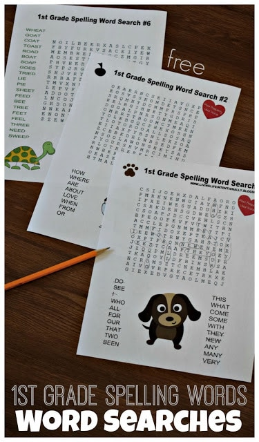 If you are looking for a fun way for kids to practice 1st grade spelling words, you will love these FREE first grade word search printable. There are over 50 free printable word searches in this huge pack! This is such a great way to practice grade 1 spelling words!