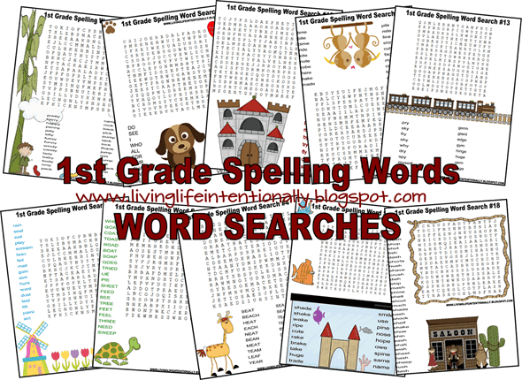 FREE printable First Grade Word Search Printable to help kid practice spelling words while having fun