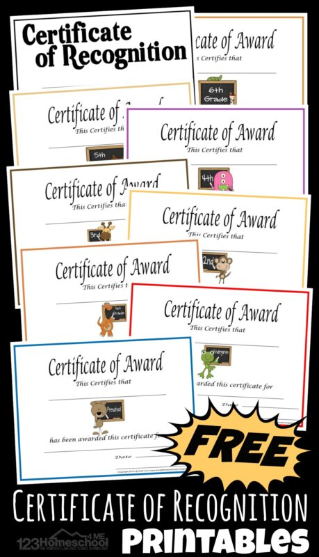 Free Printable Homeschool Certificates - this pack contains several choices of Certificates of Recognition or Award to give to students at the end of the year, science, fair, and a variety of other uses. Handy for end of the year for homeschools and homeschool coop.