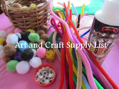 art and craft supplies list