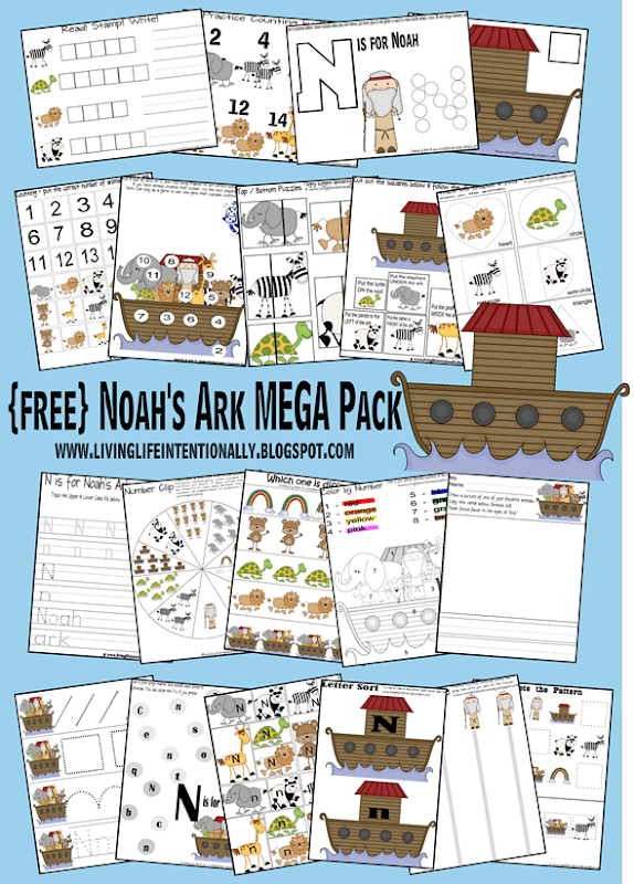FREE Noah's Ark Worksheets for Kids - toddler, preschool, kindergarten, 1st grade kids will have fun practicing letter n, counting, building words, coloring by number and so much more with this free printable worksheets for kids