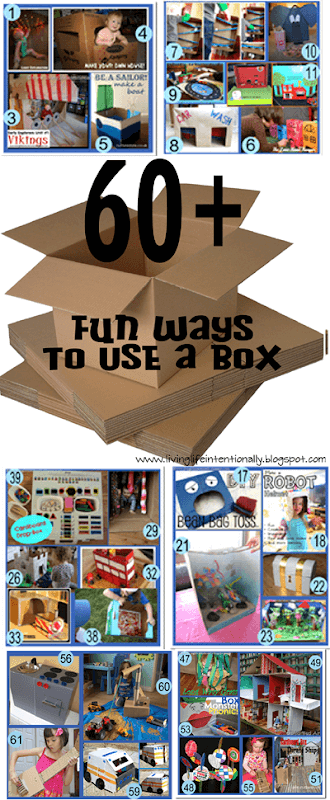 60 FUN Ways to Use a Box - so many fun, clever ideas for kids to upcycle a box to make cool box crafts and play with this unique box activities