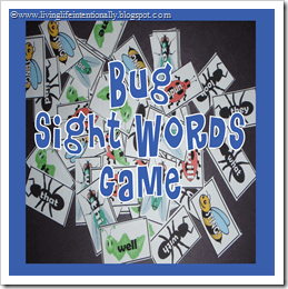 Bug Sight Words Game (K-2nd)