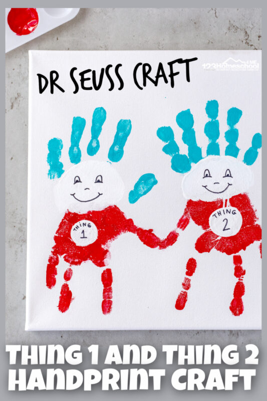 This super cute Dr Seuss Craft features the cute, curious, and sometimes mischevious Thing 1 2 3. So it is only fitting to make a cute thing 1 and thing 2 handprint craft featuring children who are too.  Use this thing 1 and thing 2 craft to celebrate Dr Seuss Day in March with a super cute and fun-to-make hand art project. This dr seuss activities for preschoolers is perfect for toddler, preschool, pre-k, kindergarten, first grade, 2nd grade, and 3rd grade students to celebrate a beloved children's author on his birthday!